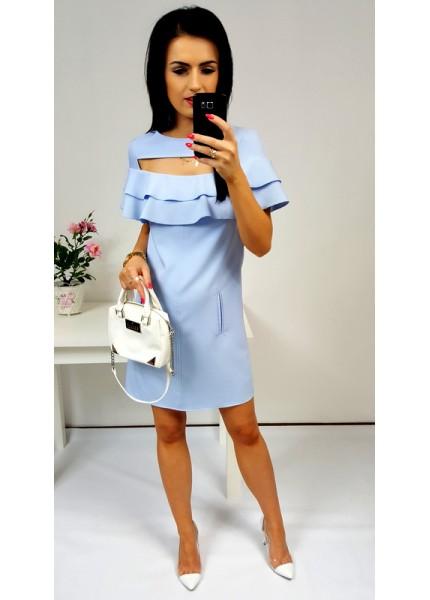 Sukienka z wycięciem na dekolcie i falbanami