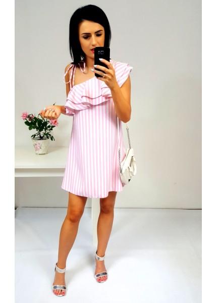 Sukienka na jedno ramię z falbanami w paski