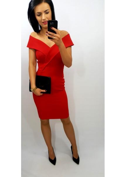 Ołówkowa sukienka midi z odkrytymi ramionami