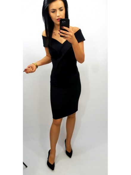 a570d28007fa32 Ołówkowa sukienka midi z odkrytymi ramionami - livien