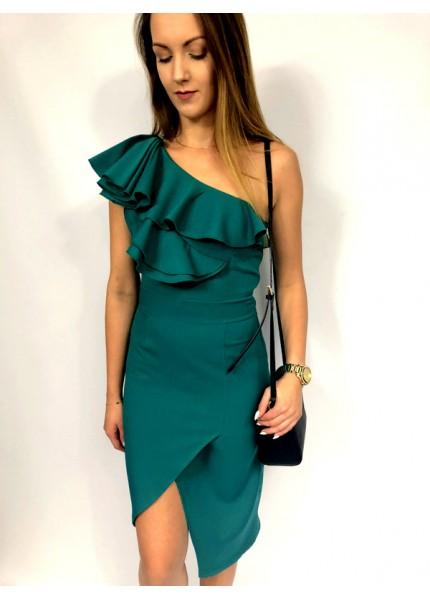 Asymetryczna sukienka midi z falbanami