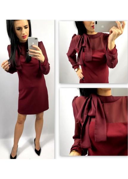 Trapezowa sukienka z szyfonową wstawką