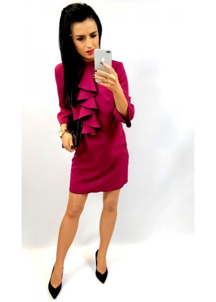 Sukienka z żabotem o kontrastowym wykończeniu