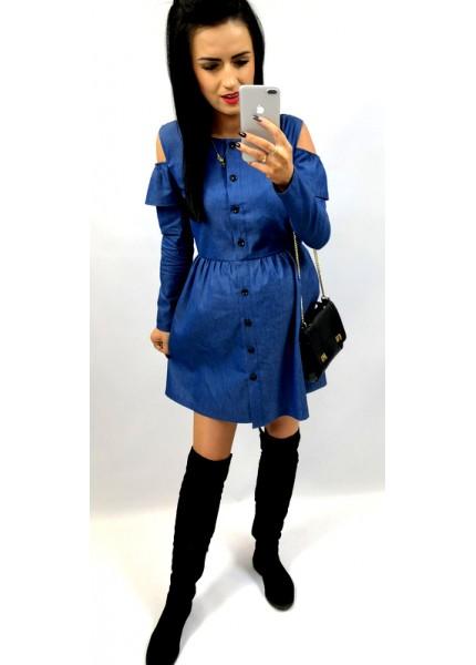 Jeansowa sukienka zapinana na guziki