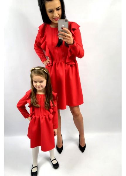 Czerwona sukienka z pliskami i falbanami DZIECKO