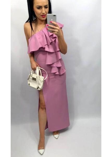 Sukienka maxi na jedno ramię z falbanami