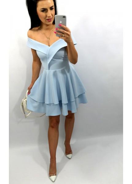 Sukienka odkryte ramiona z podwójną falbaną