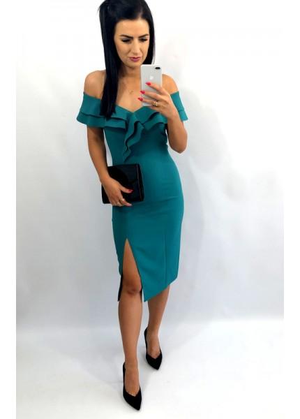 Ołówkowa sukienka z opadającym dekoltem w formie falbany
