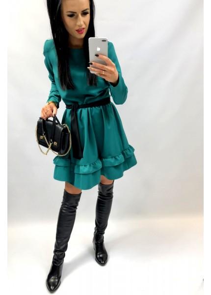 Sukienka z podwójną falbaną i czarnym paskiem