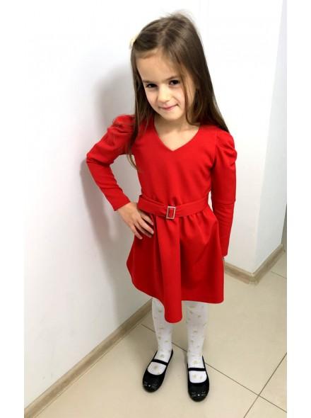 Rozkloszowana sukienka z marszczoną bufką