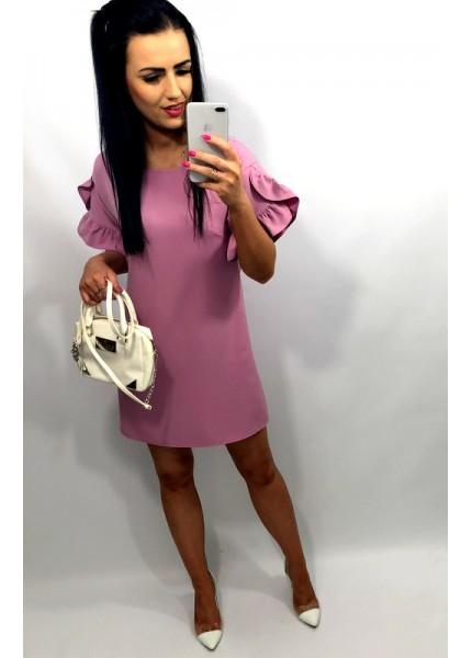 Luźna sukienka z falbanami na rękawach