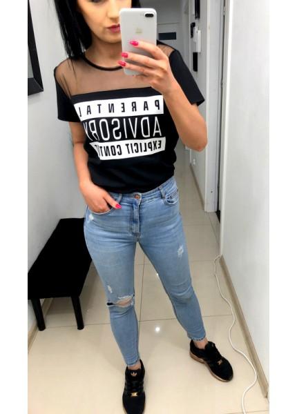 T-shirt z nadrukiem i siatką