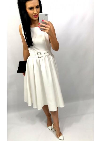 Sukienka midi marszczona z klamrą