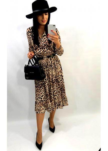 Sukienka maxi w panterkę