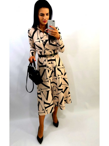 Sukienka maxi w print literek