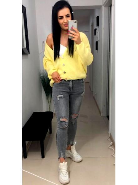 Szare spodnie jeans z zamkami