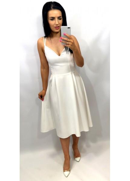 Sukienka rozkloszowana midi na szelkach