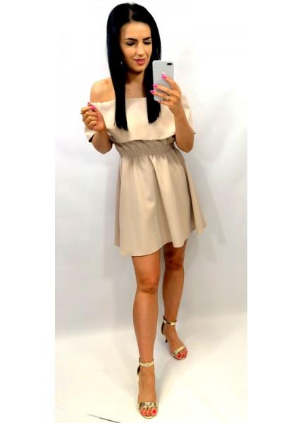 Sukienka w wersji mini z odwinięciem na ramiona