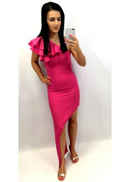 Asymetryczna sukienka maxi z falbaną